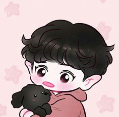 Chanyeol Cute, Park Chanyeol Exo, Kpop Exo, Kyungsoo, Chanbaek Fanart, Kpop Fanart, Exo Cartoon, Cartoon Art, Exo Stickers