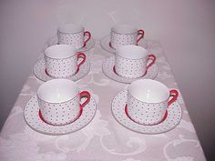 6 Fitz & Floyd Dotted Suisse Flat Cups And Saucers by thebestofthepast on Etsy