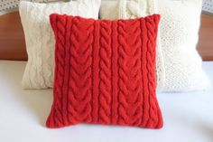 Pure red knit pillow case red knit cushion cover by Adorablewares