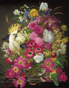 Paintings with a touch of magical realism by Yanina Movchan Love Flowers, Vintage Flowers, Dutch Still Life, Realism Artists, Magic Realism, Renaissance Paintings, Bouquet, Love And Light, Beautiful Birds