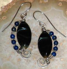 Blue Tiger Eye and Lapis Artisan Earrings Hawks Eye Sterling Silver