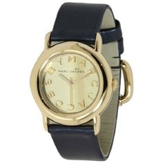 MARC JACOBS Women 33mm Marci Mirror Leather Strap Watch Blue Gold tone MBM1221