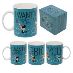 'I Want To Ride My Bicycle' Cycling Design Bone China Mug with display box