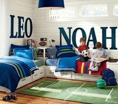 Great idea, if you have children that share a room. Love the large letters of their names!
