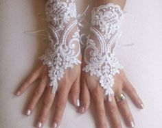 Gold Champagne beaded lace Wedding gloves bridal by GlovesByJana