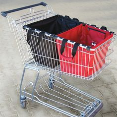 Skip the million plastic bags. Fits into shopping cart lift right out into the trunk.