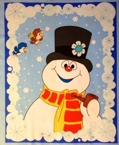 FROSTY THE SNOWMAN Song - great way to get the kids excited about the weather changes as well as incorporate this classic winter tale - extends to many craft activities Christmas Scenes, Christmas Door, Christmas Images, Christmas Snowman, Vintage Christmas, Christmas Holidays, Christmas Crafts, Merry Christmas, Christmas Cartoons
