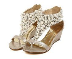 Wholesale Women s Roman pearl T-Strap Open toed Wedge Sandals bride shoes  Wedding Shoes Evening Pumps DHgate e37ba8760579