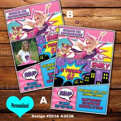 Barbie Princess Power Birthday Invitation,Barbie Birthday Invitation,Super Barbie invite,Barbie,Barbie Princess Power,SLT202
