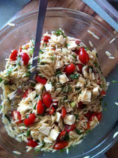 Summer Orzo Salad... sub mozzarella and a balsamic dressing for a caprese salad too.  Yum
