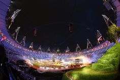General View of performers during the Opening Ceremony of the London 2012 Olympic Games at the Olympic Stadium on July 27, 2012 in London, England.  (Ryan Pierse/Getty Images) 1 PHOTO LINK