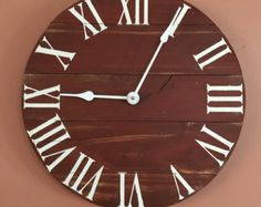 large barn red rustic wood clock pallet clock by ontimehome