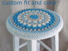 Crochet Slipcover for Round Barstools, Custom Fit and Color Crochet Wool, Crochet Cushions, Love Crochet, Crochet Doilies, Crochet Granny, Stool Cover Crochet, Crochet Furniture, Stool Covers, Crochet Home Decor