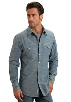Stetson Mens Blue 100% Cotton Solid L/S Vintage Chambray Western Shirt