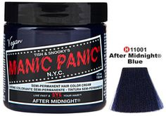 """Color : After Midnight Blue Tish & Snooky's Manic Panic Semi-Permanent Hair Color Cream   AFTER MIDNIGHT BLUE one of MANIC PANIC's most famous hair colors. It comes in both MANIC PANIC® hair color formulas: Classic cream and Amplified cream.This striking color, when applied to bleached or pre-lightened hair will be a vivid, , deep """"midnight"""" blue. This color has some strong pigment and will give a subtle to bold highlight on darker and natural hair, provided you allow for extra processing…"""
