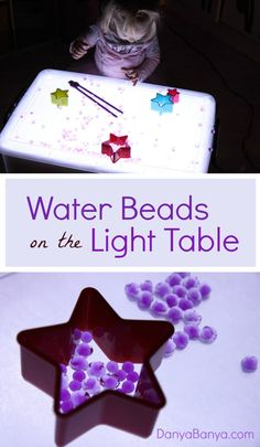 Playful science: using the light table to study how water beads absorb water and the affect on transparency. Plus lots of open-ended fine motor sensory play. ~ Danya Banya