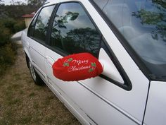 """Love this """"Merry Christmas"""" car mirror cover! Christmas Car Decorations, Outdoor Christmas Decorations, Father Christmas, Merry Christmas, Xmas, Holiday Images, High Road, Santa Letter, Car Mirror"""