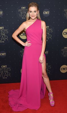 Kelsea Ballerini in a one-shoulder pink dress