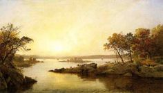 jasper francis cropsey afternoon at greenwood lake. Artist by: jasper francis cropsey. Art work: Oil paintings, Canvas Prints, Posters