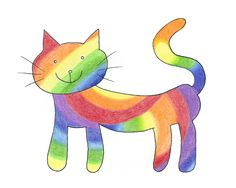 """""""Rainbow Cat"""" ink and color pencil drawing by Diane Hurst  -- print available at https://www.etsy.com/listing/257174936/rainbow-cat-art-print"""