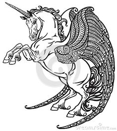 winged-unicorn-black-white-mythological-horse-image-61254403.jpg (400×450)