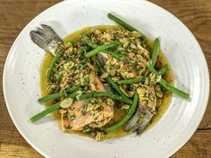 This steamed trout recipe is easy peasy and ready in no time at all. Serve with a brown butter made with shallots, almonds, capers, parsley and lemon. Trout Recipes, Brown Butter, Meals For Two, Fish And Seafood, Almonds, James Martin, Green Beans, Dinner Recipes, Cooking Recipes