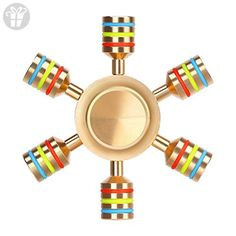 Aukwing Six Winged Brass Hand Fidget Spinner Rainbow EDC Focus Toy Stress Reducer with High Speed Stainless Steel R188 Detachable Bearings Spins for ADD, ADHD, Anxiety and Autism People - Fidget spinner (*Amazon Partner-Link)