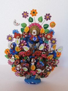 Tree of Life Adam Eve Hand Made with Clay Mexican Folk Art from Metepec