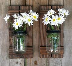 Mason Jar Candle or Flower Holder Reclaimed Wood by LowerArkCrafts