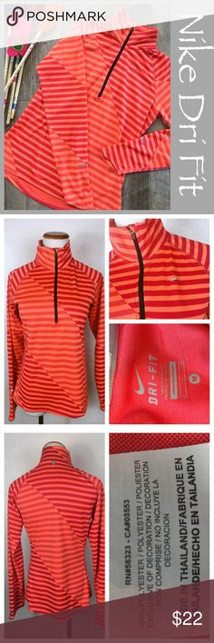 """Nike Dri Fit pullover. Nike dri fit striped pullover. Size medium. No snags or pulls in great shape. Orange and red striped. Preowned #58 Measurements: Bust 18"""" Underarm to bottom hem 16"""" Sleeves 28.5"""".       Bundle in my closet and save. I ship same day or next day almost always! No trades. Suggested user and top-rated seller. Thank you for checking out my closet Nike Tops Tees - Long Sleeve"""