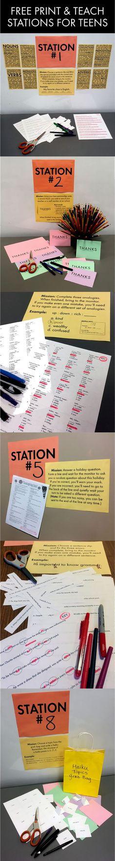FREE print & teach station materials for middle school and high school teachers #stations #lessonidea #highschool #middleschool #Englishteacher