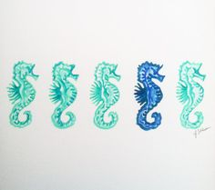Original Seahorse Watercolor Painting by Jaschlos on Etsy, $20.00