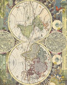 World Map with Two Hemisphaeres and Two Smaller Celestial Globes, later edition with California no longer shown as an island, 1730.