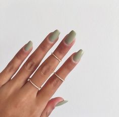 Calm Green Nail Design Inspiration Nice Calm Green Nail Design Inspiration More from my siteThe Trendiest Fall Nail Colors + Fall Nails Inspiration Green Nail Designs, Nagellack Design, Nail Polish, Gray Nails, Black Nails, Fire Nails, Minimalist Nails, Manicure E Pedicure, Mani Pedi