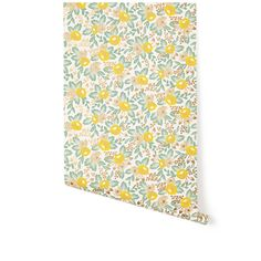 Yellow and Green Rose Wallpaper - so sweet and feminine. We LOVE this for a baby girl nursery accent wall! #PNshop