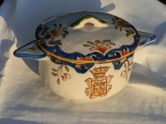 French Antique Candy Bowl  Desvres Porcelaine dated by GoshnPoche, $65.00