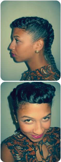 naturalhairisdope:    Retro French Braids. Click here for a tutorial.