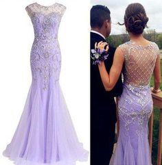 lilac Prom Dresses,long prom dress,charming prom Dress,elegant prom dress,beaded evening dress,BD2803