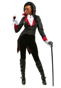 Dress up as an immortal vampire in this women's dashing vampiress costume. Scary Couples Costumes, Vampire Costumes, Costumes For Women, Halloween Costumes, Gothic Looks, Costume Works, Shades Of Black, High Collar, Plus Size Women