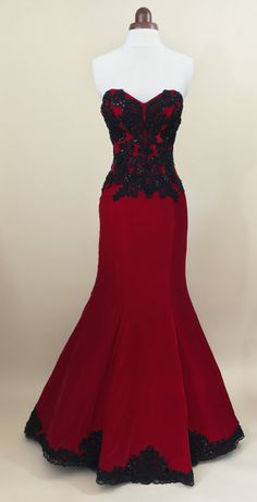 Red ball gown prom dress evening gown party dress by Valdenize