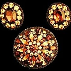 For sale at Retrophoria.com, $99.00 - A Beautiful Vintage Warm Brown Topaz Jonquil Brooch with Matching Earring Set in Excellent Condition