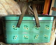 Adorable vintage metal picnic basket