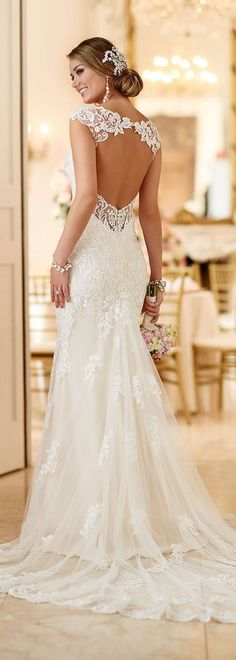 This romantic lace over matte-side Lustre satin wedding gown from Stella York me., romantic lace over matte-side Lustre satin wedding gown from Stella York meets all the desires of a modern bride. From its hand-sewn clear beadin. Wedding Dress Backs, 2016 Wedding Dresses, Perfect Wedding Dress, Bridal Dresses, Wedding Gowns, Lace Weddings, Backless Wedding, Dresses Dresses, Party Dresses