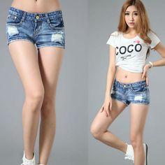 Women s Fashion Slim-Cut Denim Hole Short Pants 06785fb273