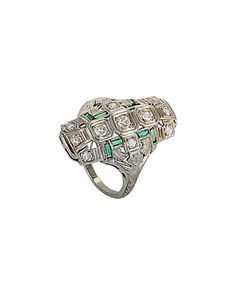 Rue La La — MFCO 18K 0.80 ct. tw. Diamond & Emerald Ring