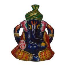 Amazon.com: Hindu God Sculpture Hand-painted Metal Ganesha Statue: Home & Kitchen