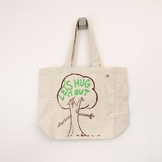 Tree hugger tote bag  let's hug it out screen printed by LEFTright