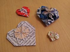 Valentines day heart origami with different recycled papers and wrappers