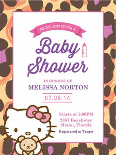 Hello Kitty: Baby Shower Invitation Only $10.00 (USD)