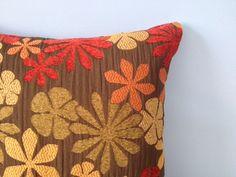 Boho pillow cover. Fall pillow. 18x18 zipper pillow. Mod pillow. Chenille pillow. Autumn throw pillow. Red green orange gold brown pillow. by sterlingstitchery on Etsy